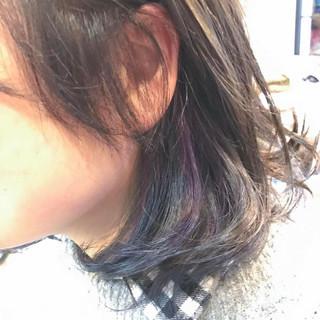 ブルー アッシュグレー アッシュ インナーカラー ヘアスタイルや髪型の写真・画像