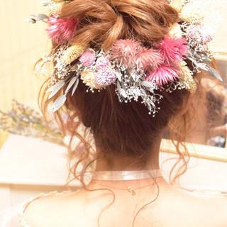 お団子 結婚式 ブライダル ロング ヘアスタイルや髪型の写真・画像
