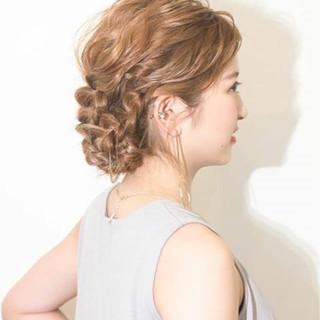 夏 編み込み ショート 簡単ヘアアレンジ ヘアスタイルや髪型の写真・画像