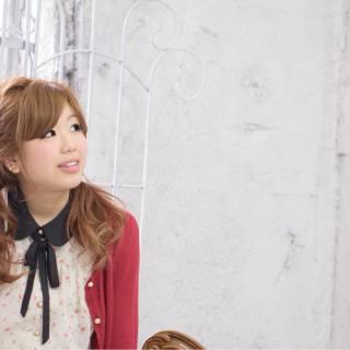 ツインテール 編み込み ヘアアレンジ ガーリー ヘアスタイルや髪型の写真・画像