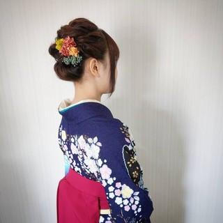 結婚式 フェミニン パーマ 成人式 ヘアスタイルや髪型の写真・画像