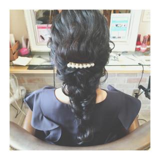 ハーフアップ ロング 編み込み ヘアアレンジ ヘアスタイルや髪型の写真・画像