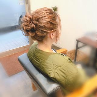 セミロング ヘアセット 結婚式 お団子 ヘアスタイルや髪型の写真・画像