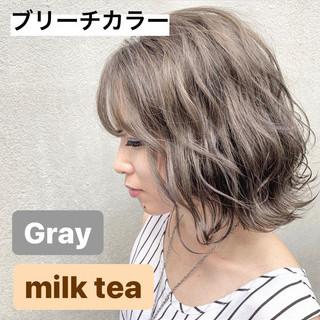 イルミナカラー ミルクティーグレージュ ミルクティーベージュ ボブ ヘアスタイルや髪型の写真・画像