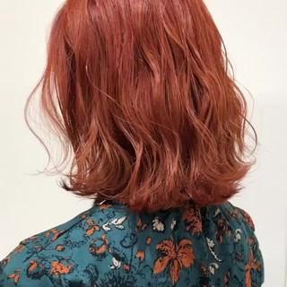オレンジベージュ 透明感 オレンジ ボブ ヘアスタイルや髪型の写真・画像