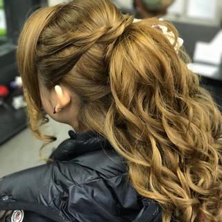ハーフアップ ロング ヘアアレンジ ポニーテール ヘアスタイルや髪型の写真・画像
