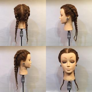 編み込み モード 裏編み込み パーティ ヘアスタイルや髪型の写真・画像