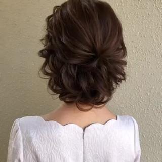 大人かわいい セミロング 結婚式ヘアアレンジ おしゃれさんと繋がりたい ヘアスタイルや髪型の写真・画像