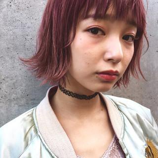 ボブ ウェットヘア ショートボブ ピンク ヘアスタイルや髪型の写真・画像