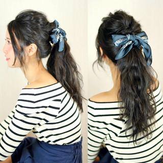 大人かわいい 黒髪 簡単ヘアアレンジ ヘアアレンジ ヘアスタイルや髪型の写真・画像