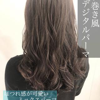 デジタルパーマ 大人かわいい グレージュ パーマ ヘアスタイルや髪型の写真・画像