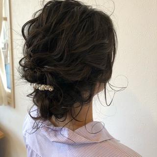 ヘアアレンジ セミロング 二次会 結婚式 ヘアスタイルや髪型の写真・画像
