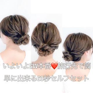 アウトドア ロング セルフアレンジ 簡単ヘアアレンジ ヘアスタイルや髪型の写真・画像