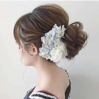 ナチュラル 結婚式 ガーリー 大人かわいい ヘアスタイルや髪型の写真・画像