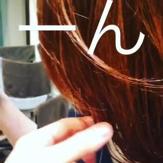 デート オレンジカラー モード オレンジベージュ ヘアスタイルや髪型の写真・画像