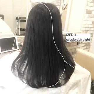 縮毛矯正 髪質改善 セミロング ストレート ヘアスタイルや髪型の写真・画像