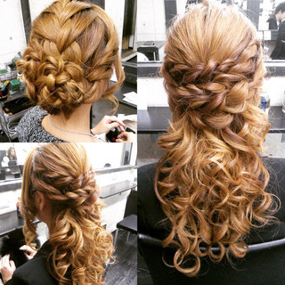 ロング ハーフアップ ヘアアレンジ 編み込み ヘアスタイルや髪型の写真・画像