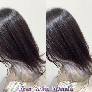 ホワイトカラー ミディアム ストリート ヘアカラー ヘアスタイルや髪型の写真・画像