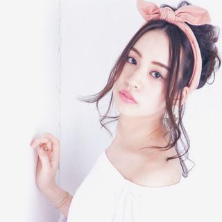 ミディアム かわいい 大人女子 バンダナ ヘアスタイルや髪型の写真・画像