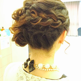 結婚式 編み込み ヘアアレンジ 大人かわいい ヘアスタイルや髪型の写真・画像 ヘアスタイルや髪型の写真・画像