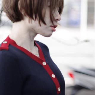 切りっぱなしボブ ストリート クール ショートヘア ヘアスタイルや髪型の写真・画像