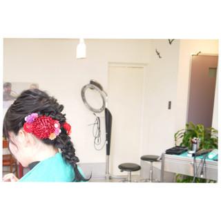 編み込み 学校 ヘアアレンジ 謝恩会 ヘアスタイルや髪型の写真・画像