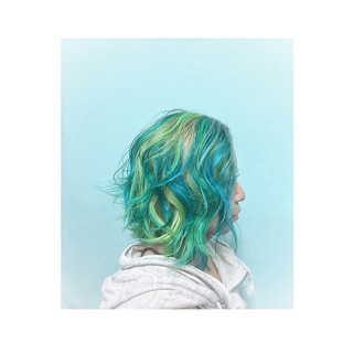 ゆるふわ 渋谷系 グラデーションカラー ストリート ヘアスタイルや髪型の写真・画像