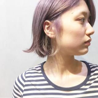 パープルカラー ピンクパープル パープル インナーカラーパープル ヘアスタイルや髪型の写真・画像
