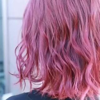 バレイヤージュ ヘアアレンジ ミディアム グラデーションカラー ヘアスタイルや髪型の写真・画像