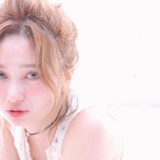 ヘアアレンジ デート フェミニン セミロング ヘアスタイルや髪型の写真・画像