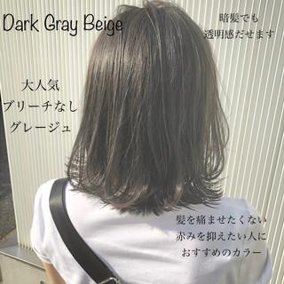 ナチュラル グレージュ 暗髪 ウェーブ ヘアスタイルや髪型の写真・画像