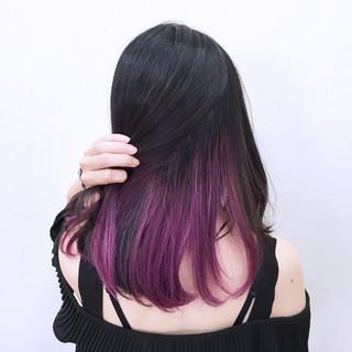 パープル 黒髪 ロブ セミロング ヘアスタイルや髪型の写真・画像