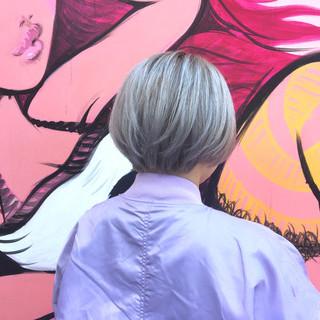 ガーリー ボブ ミルクティー ニュアンス ヘアスタイルや髪型の写真・画像
