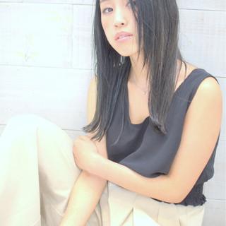 アッシュ 黒髪 暗髪 セミロング ヘアスタイルや髪型の写真・画像