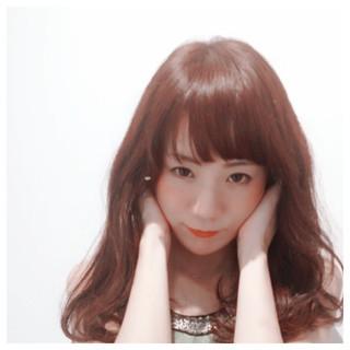 丸顔 ゆるふわ フェミニン ナチュラル ヘアスタイルや髪型の写真・画像