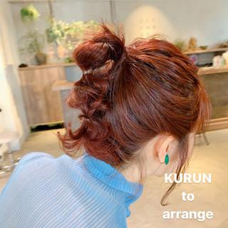 ボブ ガーリー オレンジベージュ 簡単ヘアアレンジ ヘアスタイルや髪型の写真・画像
