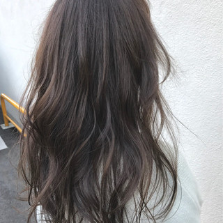 透明感 ハイライト ナチュラル セミロング ヘアスタイルや髪型の写真・画像