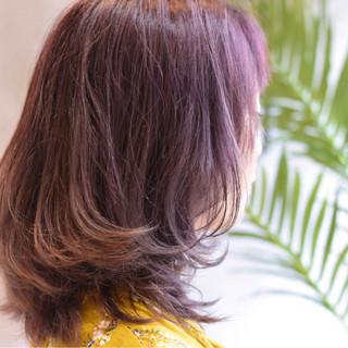 グレージュ セミロング ガーリー ピンク ヘアスタイルや髪型の写真・画像 ヘアスタイルや髪型の写真・画像