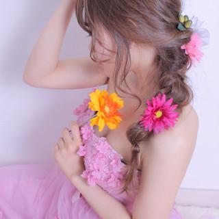 編みおろしヘア ヘアアレンジ モテ髪 エレガント ヘアスタイルや髪型の写真・画像