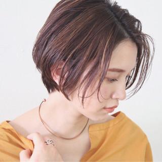 シースルーバング 透明感 ニュアンス ショート ヘアスタイルや髪型の写真・画像