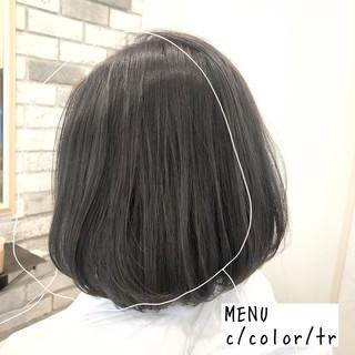 ボブ 前髪 ナチュラル ストレート ヘアスタイルや髪型の写真・画像