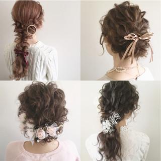 セミロング 大人かわいい ヘアアレンジ 結婚式 ヘアスタイルや髪型の写真・画像