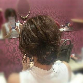 ヘアアレンジ 上品 結婚式 ミディアム ヘアスタイルや髪型の写真・画像
