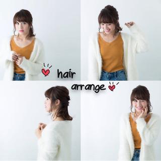 ミディアム 大人女子 小顔 簡単ヘアアレンジ ヘアスタイルや髪型の写真・画像