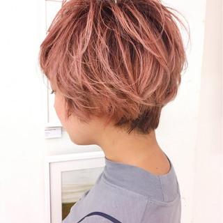 ショート ピンク ガーリー 外国人風 ヘアスタイルや髪型の写真・画像