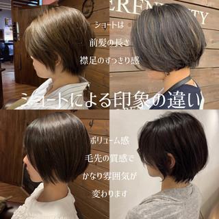 イメチェン ショート ナチュラル 前髪 ヘアスタイルや髪型の写真・画像