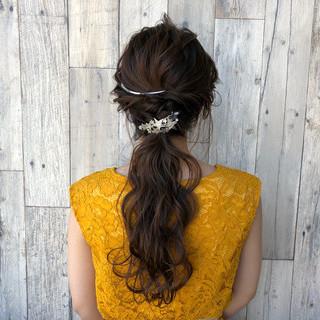 ヘアアレンジ パーティ セミロング フェミニン ヘアスタイルや髪型の写真・画像 ヘアスタイルや髪型の写真・画像