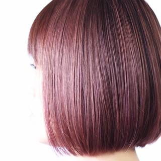 ピンクバイオレット ナチュラル ボブ ピンクラベンダー ヘアスタイルや髪型の写真・画像