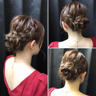 結婚式 デート お花ヘア 編み込み ヘアスタイルや髪型の写真・画像 ヘアスタイルや髪型の写真・画像