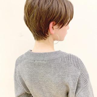 ショートボブ アンニュイほつれヘア ハンサムショート デート ヘアスタイルや髪型の写真・画像